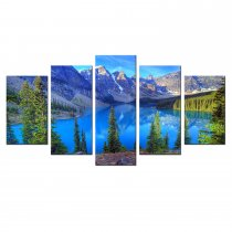 Amosi Art-5 Panels Wall Art Landscape The Canadian Rocky Mountains Picture Canvas Prints for Living Room Home Decoration