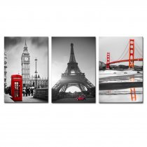 Amosi Art-Black and White Building Big Ben of London,Eiffel Tower and Golden Gate Bridge Famous Building Picture Canvas Wall Art Painting the Pictrue for Home Decoration 3 Pieces