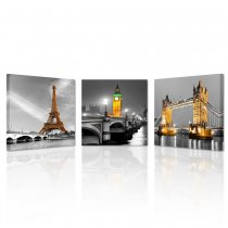 Amosi Art-3 Panel Paris Effiel Tower Canvas Painting Picture City Building London Bridge Big Ben Landscape Wall Art Modern Printing Ready to Hang