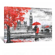 Amosi Art-Red Umbrella Couple Painting Canvas Art Wall Decor Print Romantic London Street Landscape Paintings Canvas Ready to Hang