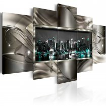 Amosi Art-5 Panels Wall Art  Night View of American Cities with Abstract background Canvas Painting for Living room decoration