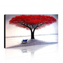 Amosi Art-1-Piece 100% Hand Painted Oil Paintings Stretched Framed Ready Hang Flower Landscape Red Tree Flower Modern Abstract Painting Canvas Living Room Bedroom Office Wall Art Home Decoration