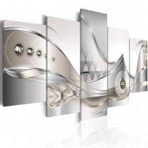 Amosi Art-5 Panels  Abstract Diamond White lines background canvas printings for home decor