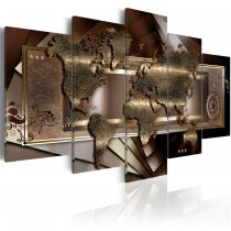 Amosi Art-5 Pieces Gold Creative Abstract world map decorative paintings for house home decoration