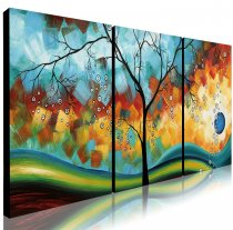 Amosi Art-3 Panels Wall Art Hand-painted Oil painting of Rich Tree for Living Room Home Decor wth stretch frame