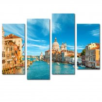 Amosi Art-4 Panels Wall Art Beautiful blue sky Venice landscape of Picture canvas prints for living room decor