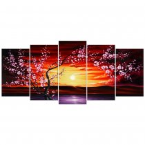 Amosi Art-5 Panels Plum Tree Blossom Modern Giclee Canvas Prints Flowers Artwork Contemporary Abstract Floral Paintings on Canvas Wall Art for Hot sale Home Decorations Wall Decor