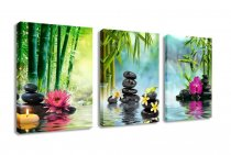 Amosi Art-Canvas Painting Wall Art Decor SPA Stone Green Bamboo Pink Waterlily and Frangipani Pictures - 3 Panels Modern Zen Canvas Painting Prints Giclee Art for Home Office and Kitchen