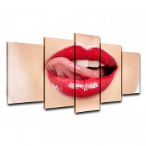 Amosi Art-Canvas Wall Art Oil Painting Frame For Living Room HD Printed 5 Panel Modular Pictures Red Lips Poster Modern Home Decor