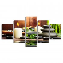 Amosi Art-Modern Canvas Paintings Home Decor Wall Art 5 Pieces Bamboo Candles Stones Pictures For Living Room HD Prints Posters Framework