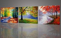 Amosi Art-Canvas Prints 3 Panels Autumn Maples Forest Picture Prints on Canvas Wall Art Paintings Artwork For Modern Home Living Room Decor