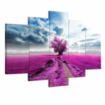 Amosi Art-5 Panel Canvas Wall Art Purple Tree Canvas Painting Large Wall Pictures for Living Room Home Decor Wall Paintings