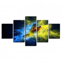 Amosi Art-Canvas HD Prints Pictures Wall Art Living Room Home Decor Poster 5 Pieces Derevya Popugay Polet Parrot Wings Paintings Framework