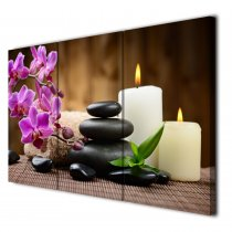 Amosi Art-Wall Art SPA Black Stone Orchid 3 Panels Picture Canvas Prints Modern Peaceful Framed for House decoration