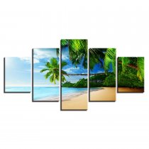 Amosi Art-Modern Canvas Poster Modular Living Room Home Decor 5 Pieces Beach Coconut Trees Seascape Paintings Wall Art Pictures Framework