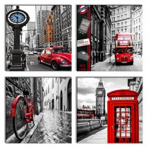 Amosi Art-Canvas printings London red bus-bicycle,-telephone booth street view-4 panels wall decor