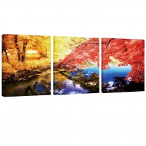 Amosi Art-Canvas Printings 3 Panels Autumn Maples Forest and Beautiful Lake Landscape Picture Wall Art Canvas Painting Artworks for Living Room Home Decoration