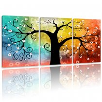 Amosi Art-3 Panels Canvas Paintings Abstract Wealth Tree Giclee Artwork with Stretched and Framed For Home Decoration