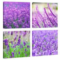 Amosi Art-4 Panels Lavender Canvas Wall Art Painting Landscape Picture Prints on Canvas Wall Picture Contemporary Artwork Stretched and Framed Ready to Hang for Home Living Room Decoration