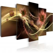 Amosi Art-5 Panels  Lily flower with Abstract White lines background canvas printings for home decoration