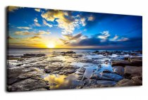 Blue Canvas Wall Art Sunset Beach Wave Large Nature Picture Painting Long Canvas Artwork Contemporary Wall Art Ocean Beach Coast Rocks Hawaii Landscape