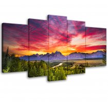 Amosi Art-5 Panels Canvas Wall Art Landscape Painting Sunset Mountain Picture Printed Stretched and Framed Wall Art for Living Room Home Decor