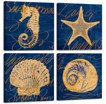 Amosi Art Canvas Art Wall Decor 4 Panels Navy Blue Seahorse Starfish Shell Painting Framed Wall Art for Children Room Decor