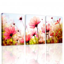 Canvas Prints Wall Art for Teen Girl Bedroom Pink Gesang Floral Painting Picture Modern Home Decor