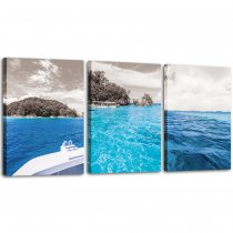 Blue Ocean Sea Home Art Decor Seaview Canvas Prints Landscape Picture Framed Wall Art for Bedroom