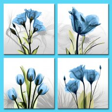 Amosi Art - 4 Panel Elegant Tulip Flower Canvas Print Wall Art Painting For Living Room Decor And Modern Home Decoration