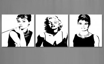 Amosi Art-Classic Marilyn Monroe and Audrey Hepburn Picture Painting on Canvas Print with Stretch Framed Modern Home Decorations 3 Panels