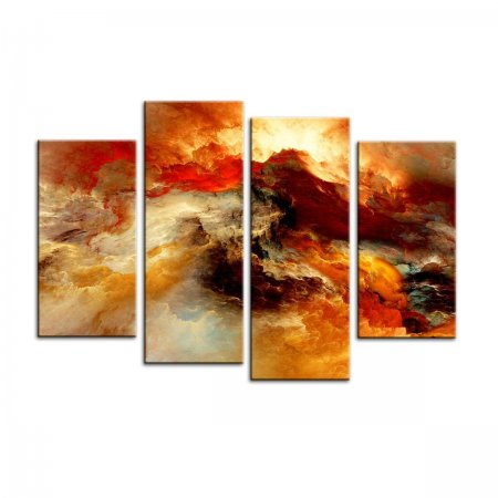 4 Panels Abstract Colorful Ocean Waves Painting Canvas Prints Wall Art  for Home and Office Decorations