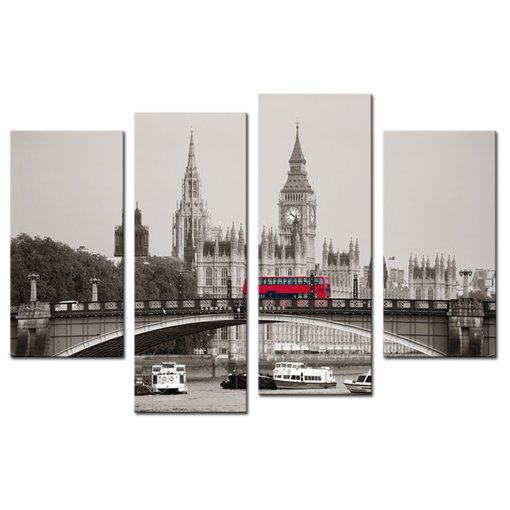 Amosi Art-4 PCS Wall Art Modern City The Houses of Parliament, London Painting Canvas Prints Giclee Artwork for Living Room Home Decoration