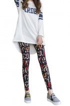 Ultra-Skinny Colorful Alphabet Print Brushed Pencil Tights