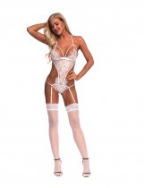 Provocative White Hollow Out Design Teddy Lingerie With Garter Belts