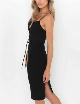 Zealous Black Plunge High Waist Bodycon Dress Back Split Superior Quality