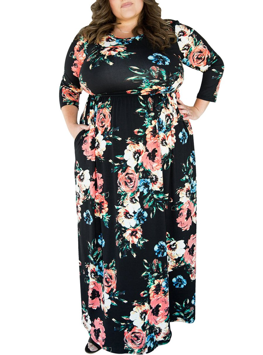 05ebf45d18a Black Floral Printed Plus Size Maxi Dress with Long Sleeve Item NO  774840