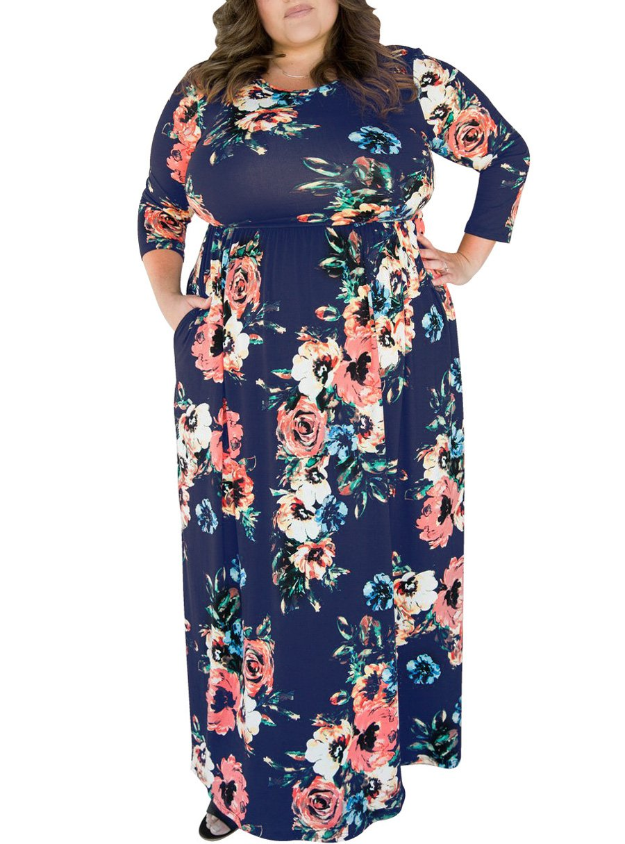 Royal Blue Floral Printed Plus Size Maxi Dress with Pockets