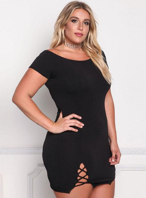 Black Off Shoulder Crisscross Hem Plus Size Bodycon Dress