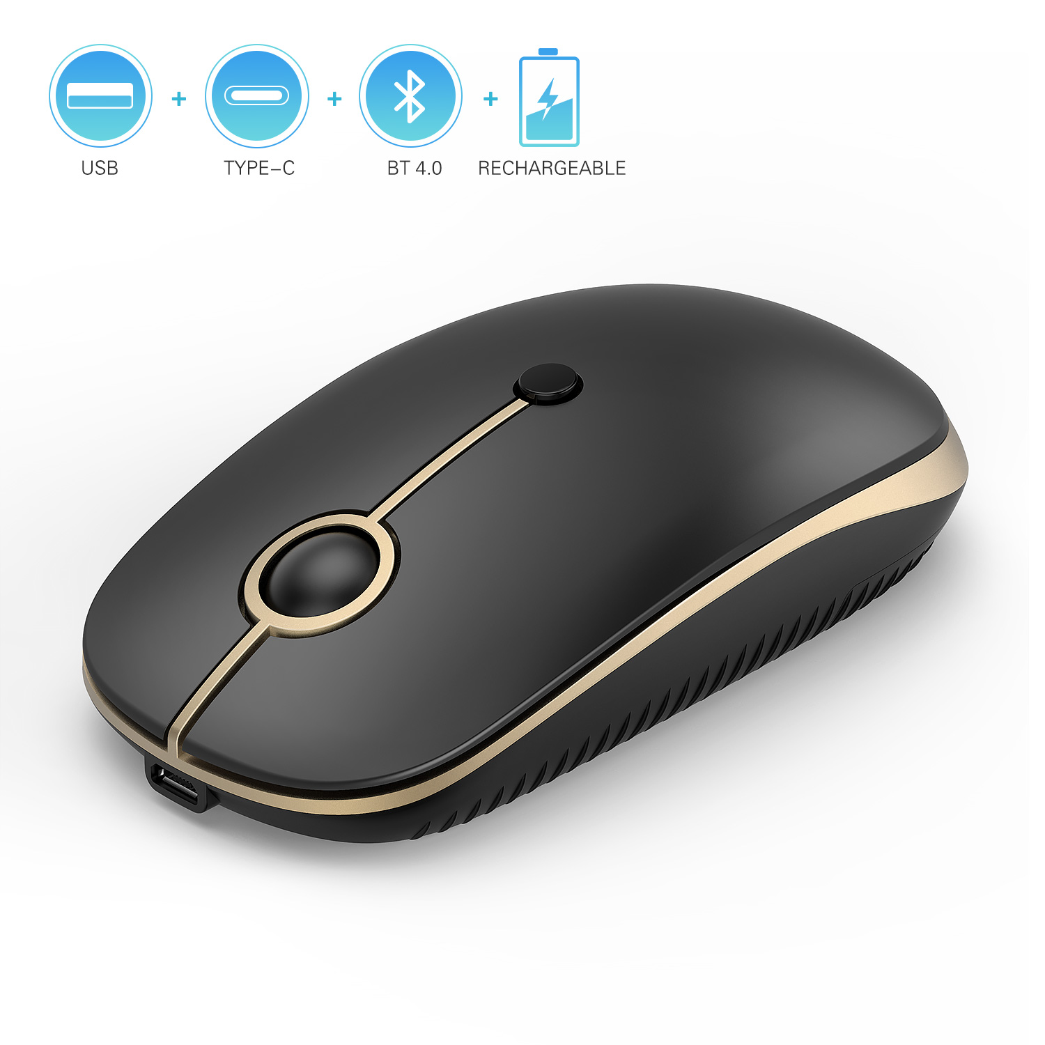Rechargeable 2.4GHz Wireless Bluetooth Mouse, Jelly Comb Slim