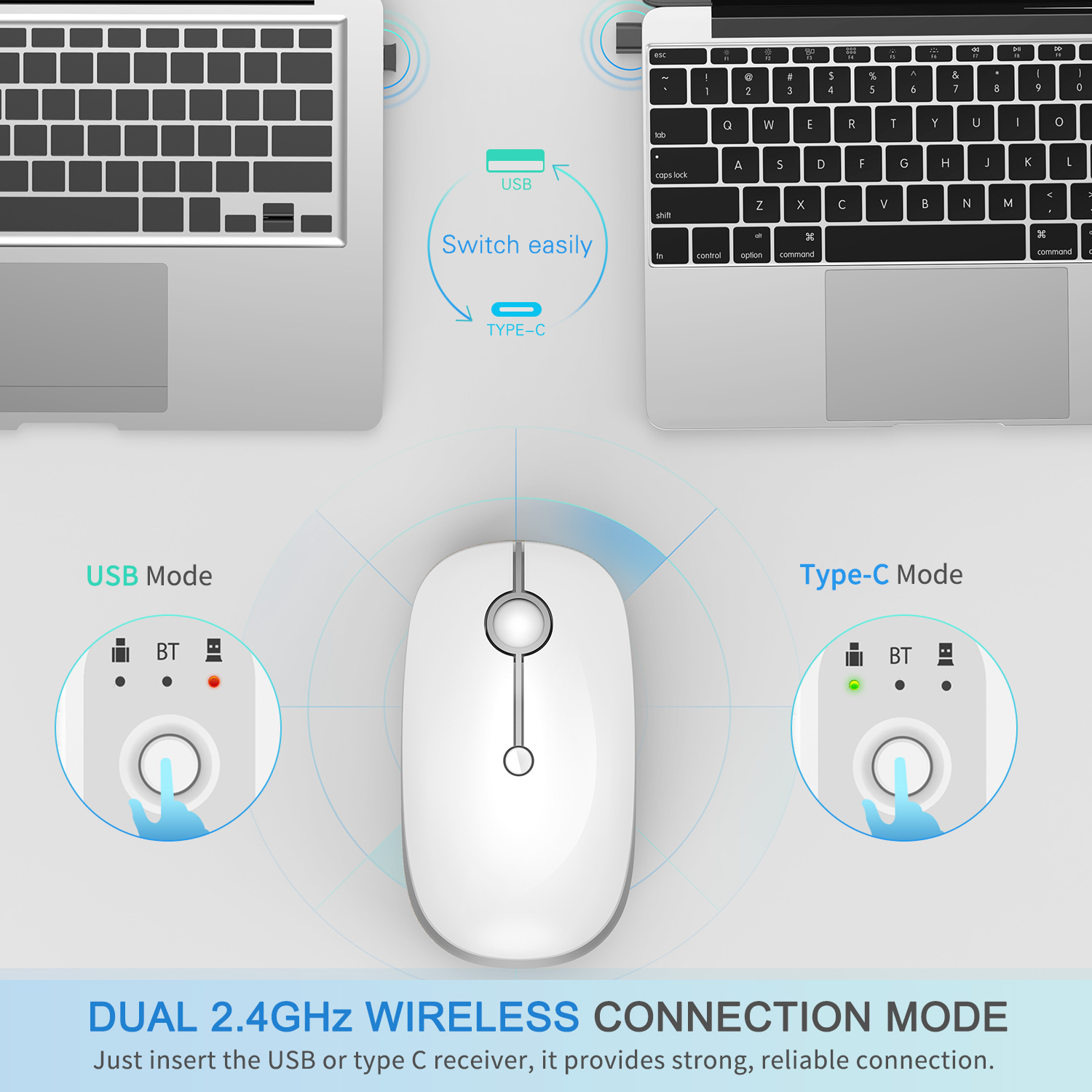 Triple Mode Wireless Mouse MS04 (Bluetooth +Type C +USB connection)