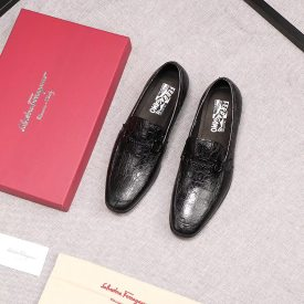 Ferragamo European and American counter business new leather shoes