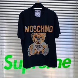 Moschino heavy industries bear hot drill, loose short sleeve 2019 new lovers