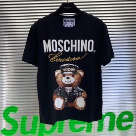 Moschino short sleeve summer 19 limited edition bear cotton round neck print embroidery