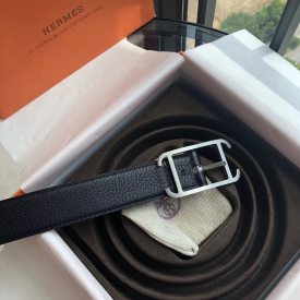 Hermes 32mm Society double-sided external belt, metal buckle with imported cowhide, a dual role