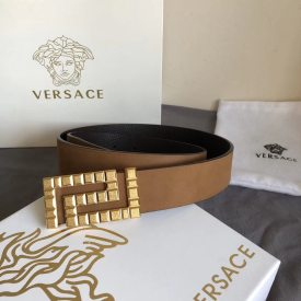 Versace Men import flock  camel lichee Double belt,Collocation  rectifiation Rolling sand Close the body  metal button  3.5cm