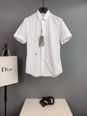 Dior men's signature style of the original single collar plaid decoration house fabric cotton shirt
