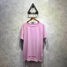 OFF OW pink cherry blossom flower short sleeves, fabric dyed and woven true 0 chromatic aberration perfect version