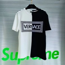 Versace men's and women's short-sleeved t-shirts sailor collar 90's letter label cotton