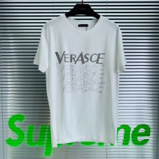 Versace letter ironing drill half sleeve cotton round neck shirt for men and women